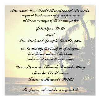 Tropische Strand-Küstenlinie-Hochzeit Quadratische 13,3 Cm Einladungskarte