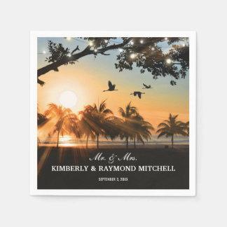 Tropische Strand-Sonnenuntergang-Schnur beleuchtet Papierservietten