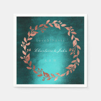 Tropische tiefgrüne Goldrosa-Bürsten-aquamarine Serviette