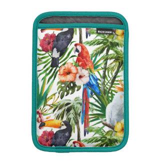 Tropische Vögel des Aquarells und Laubmuster iPad Mini Sleeve