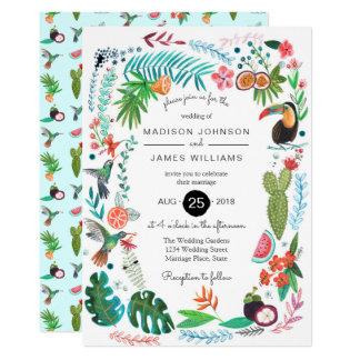 Tropische Wedding Einladungen der Sommer-Vogel-|