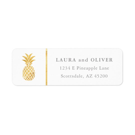 Tropischer Ananas-GoldRücksendeadressen-Aufkleber Rücksendeetiketten