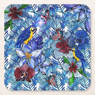 Tropischer Blau-Aloha exotischer Dschungel u. Rechteckiger Pappuntersetzer