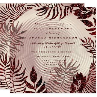 Tropischer Farn-Blätterwreath-Rosen-GoldBurgund Karte