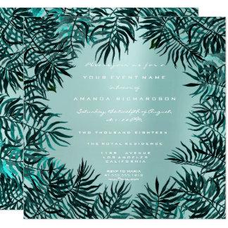 Tropischer Farn treibt gerahmtes aquamarines Karte