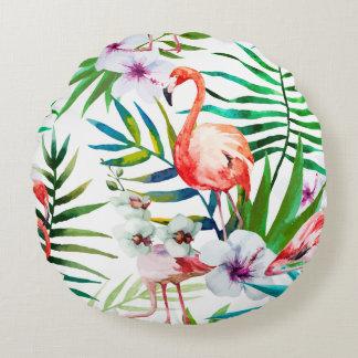 Tropischer Flamingo-Hibiskus gerundetes Kissen