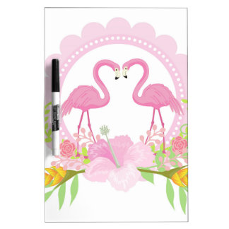 TROPISCHER FLAMINGO mit Hibiskus-Blume Trockenlöschtafel