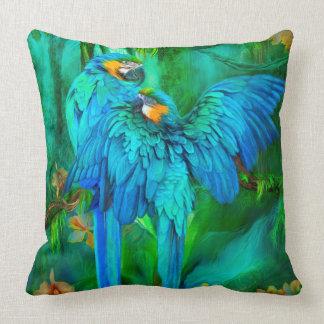 Tropischer Geist - Gold und blaues Kissen