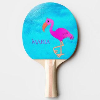 Tropischer girly und rosa Flamingo auf blauem Meer Tischtennis Schläger
