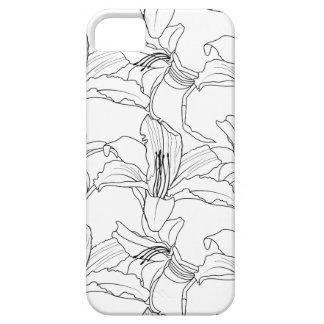 Tropischer Kontur-Telefon-Schwarzweiss-Kasten iPhone 5 Case