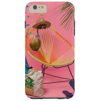Tropischer moderner Strand gegründet im Rosa Tough iPhone 6 Plus Hülle
