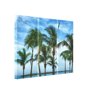 Tropischer Nachmittag mit Palmen Leinwanddruck