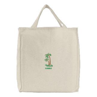 Tropischer Palme-personalisierter Strand Leinentaschen