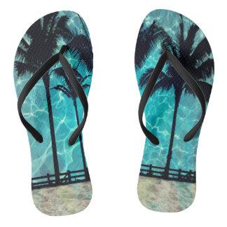 Tropischer Palme-Sommer-Spaß drehen Reinfälle um Flip Flops
