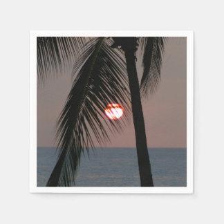 Tropischer Palme-Sonnenuntergang Papierserviette