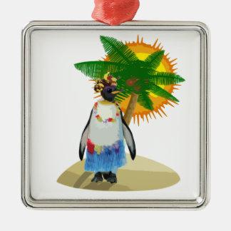 Tropischer Pinguin Silbernes Ornament