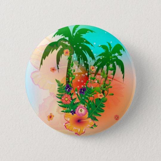 Tropischer Sommerentwurf Runder Button 5,1 Cm
