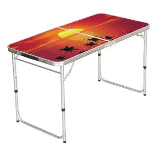 Tropischer Sonnenuntergang Beer Pong Tisch