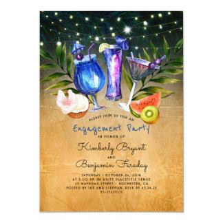 Tropischer Strand jubelt Cocktail-Verlobungs-Party 12,7 X 17,8 Cm Einladungskarte