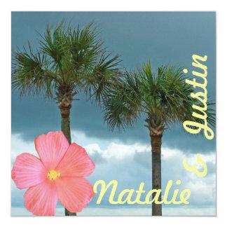 Tropischer Strand-Polterabend Quadratische 13,3 Cm Einladungskarte