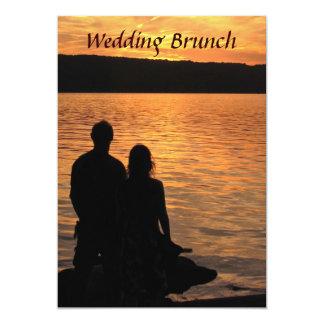 Tropischer Strand-Sonnenuntergang-Hochzeits-Brunch 12,7 X 17,8 Cm Einladungskarte