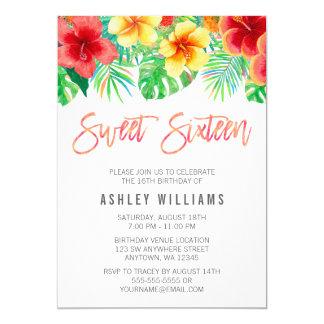 Tropischer Watercolor-Blumen-Bonbon 16 12,7 X 17,8 Cm Einladungskarte