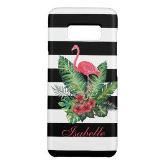 Tropischer Watercolor-Flamingo und Blumenstreifen Case-Mate Samsung Galaxy S8 Hülle