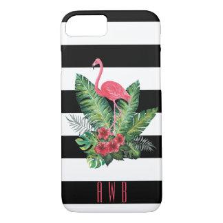 Tropischer Watercolor-Flamingo und Blumenstreifen iPhone 8/7 Hülle