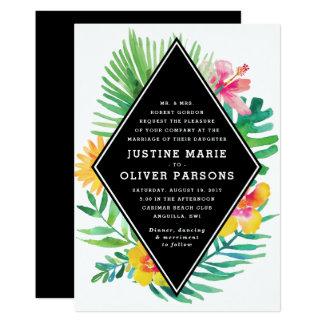 Tropischer Watercolor verlässt Hochzeits-Einladung 12,7 X 17,8 Cm Einladungskarte