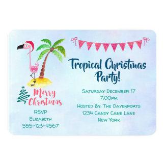 Tropischer WeihnachtsParty-Rosa-Flamingo Karte
