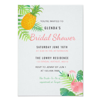 Tropisches Ananas-Flamingo-Brautparty laden ein Karte