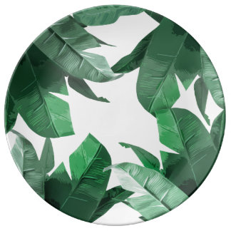 Tropisches Blatt-dekorative Porzellan-Platte Porzellanteller