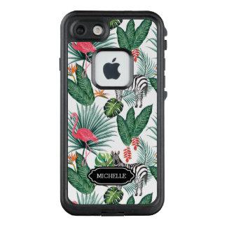 Tropisches Blatt modernen Flamingo Zebra LifeProof FRÄ' iPhone 7 Hülle