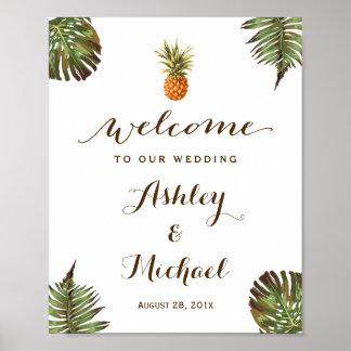 Tropisches Blätter-Ananas Luau Hochzeits-Zeichen Poster