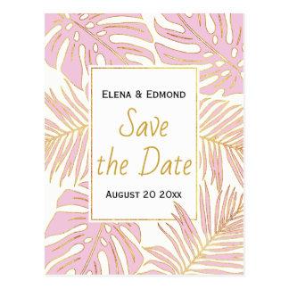 Tropisches Blätter modernes rosa wedding Save the Postkarte