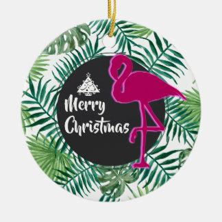 Tropisches Blätter-Muster und rosa Keramik Ornament