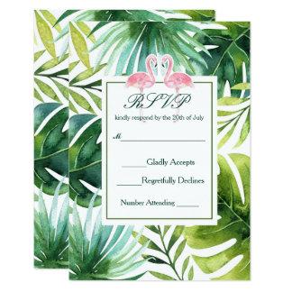 Tropisches Blätter-u. Flamingo-Sommer-Hochzeit Karte