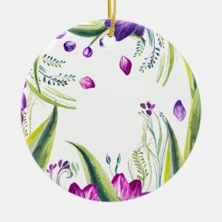 Tropisches Blätter und Blumen für Ihr Zuhause Keramik Ornament