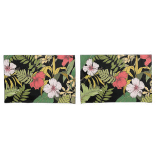 Tropisches Blumen auf Schwarzem Kissenbezug