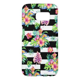 Tropisches Blumen-Muster u. weiße Streifen