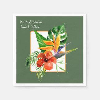 Tropisches BlumenAquarell-Wedding Papierservietten