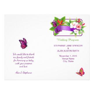 Tropisches Blumenschmetterlings-Hochzeits-Programm 21,6 X 27,9 Cm Flyer