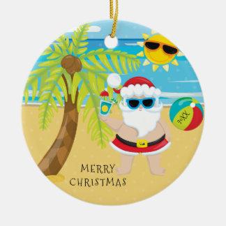 Tropisches Cocktail-Sankt-Hawaiianer-Weihnachten Rundes Keramik Ornament
