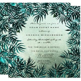 Tropisches Farn-Blatt-gerahmtes aquamarines Karte