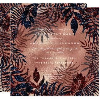 Tropisches Farn-Blätterwreath-Kupfer-aquamarine Karte