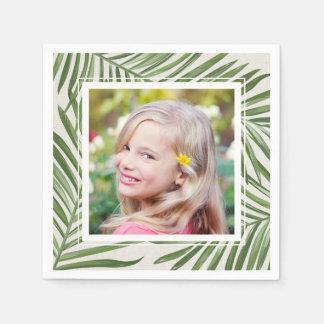 Tropisches Foto der Palmblatt-  Papierserviette