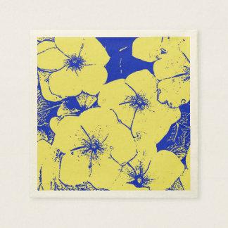 Tropisches gelbes blaues Blumen Papierserviette