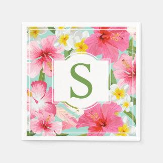 Tropisches grünes Monogramm der Blumen-  Servietten