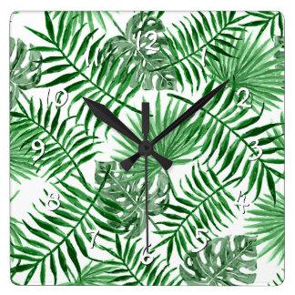 Tropisches grünes Palmblatt-Sommer-Muster Quadratische Wanduhr