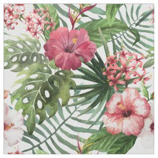 Tropisches Hibiskus-Blumen-Laubmuster Stoff